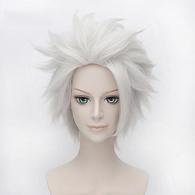 Syntetiske parykker / Kostymeparykker Krøllet Syntetisk hår Afroamerikansk parykk Hvit Parykk Dame Lokkløs Hvit