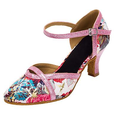 Dame Sko til latindans / Moderne sko Glimtende Glitter / Sateng Sandaler / Høye hæler Gummi / Spenne / Blomst Kustomisert hæl Kan