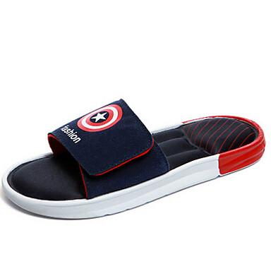 Heren Slippers & Flip-Flops Zomer Comfortabel Synthetisch Nylon Casual Platte hak Rood Groen Zwart/Rood zwart/wit Marine Blauw