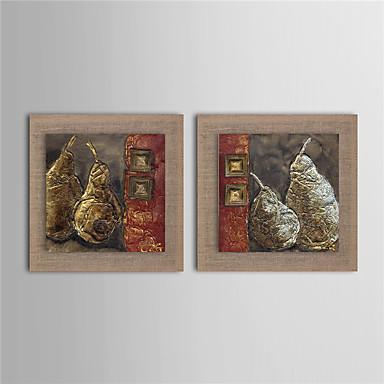 Handgeschilderde Abstract Fantasie Voedsel Bloemenmotief/Botanisch Vierkant, Modern Realisme Europese Stijl Kangas Hang-geschilderd