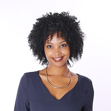 Menneskehår Helblonde Paryk Kinky Curly Paryk Natural Hairline Afro-amerikansk paryk 100 % håndbundet Dame Kort Medium Længde Blondeparykker af menneskehår / Kinky Krøller
