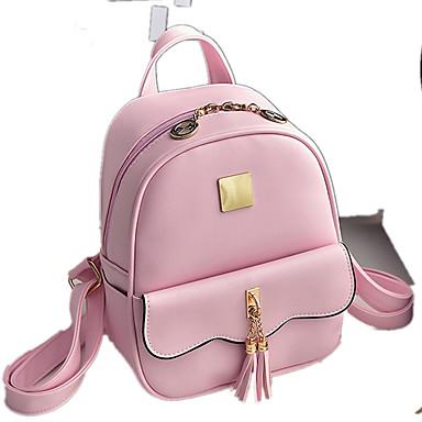 Dame Tasker PU rygsæk for Shopping Afslappet udendørs Alle årstider Sort Lys pink