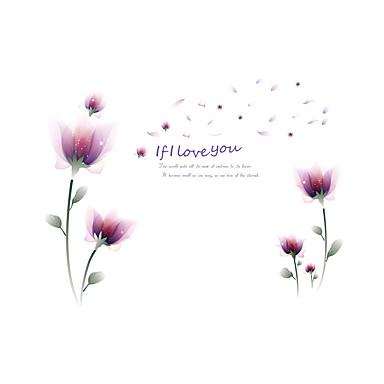 Wandtattoo Dekorative Wand Sticker - Flugzeug-Wand Sticker Romantik Mode Blumen Repositionierbar Abziehbar Waschbar