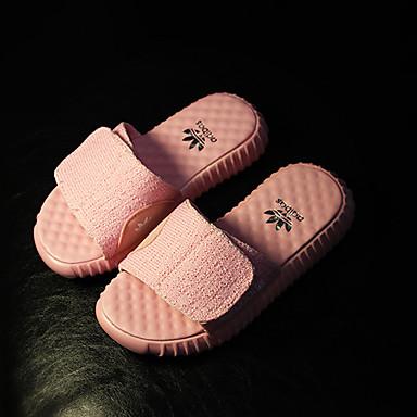 Unissex Sapatos Couro Verão Chinelos e flip-flops Rasteiro Para Casual Preto Rosa claro