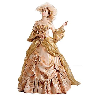 Rococó / Victoriano Disfraz Mujer Vestidos / Ropa de Fiesta / Baile de Máscaras Rojo / Dorado Cosecha Cosplay Tela de Encaje / Algodón