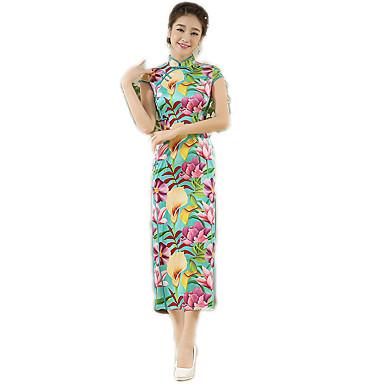 Traditionell Damen Kleid A-Linie Kleid Pencil Kleid Cosplay Blumen Kurzarm Normallänge