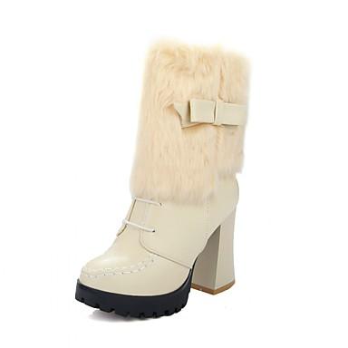 Damer Sko Syntetisk laklæder Kunstlæder Forår Efterår Vinter Cowboy / Western Støvler Militærstøvler Hæle Gang Tyk hæl Platå Rosette