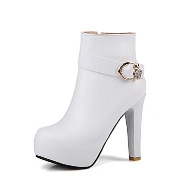 Støvler-laklæder Kunstlæder-Komfort Basispumps Ridestøvler Modestøvler-Dame-Sort Rosa Hvid Beige-Kontor Formelt Fritid-Tyk hæl
