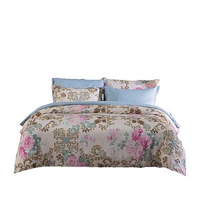 Bettbezug-Sets Blumen Polyester Reaktivdruck 4 Stück / 250 / 4-teilig (1 Bettbezug, 1 Bettlaken, 2 Kissenbezüge)