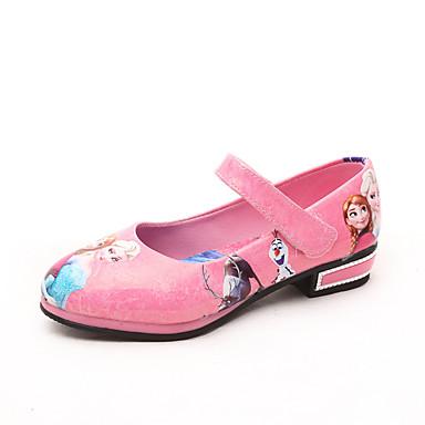 Para Meninas Sapatos Couro Ecológico Primavera Outono Rasos Rasteiro Estampa Animal Velcro Para Roxo Vermelho Azul Rosa claro