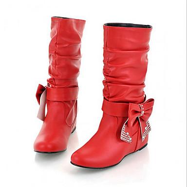 Feminino Sapatos Couro Ecológico Outono Botas Rasteiro Laço Para Casual Branco Preto Amarelo Vermelho