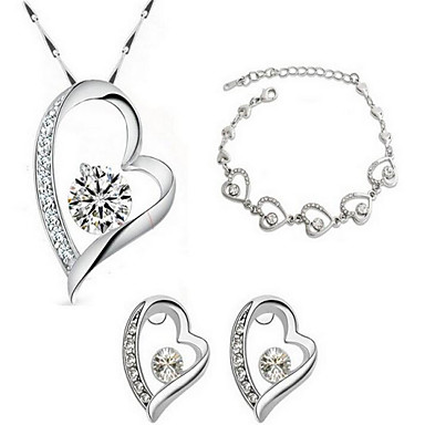 Dames Kristal Schakelketting Sieraden set - Sterling zilver, Kristal, Verguld Hart, Liefde Modieus omvatten Bruidssieradensets Wit Voor Feest / Causaal / mielitietty / Oorbellen / Kettingen / Armband