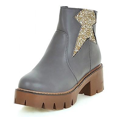 Mulheres Sapatos Courino Couro Envernizado Primavera Outono Inverno Inovador Conforto Botas Caminhada Salto Robusto Salto de bloco