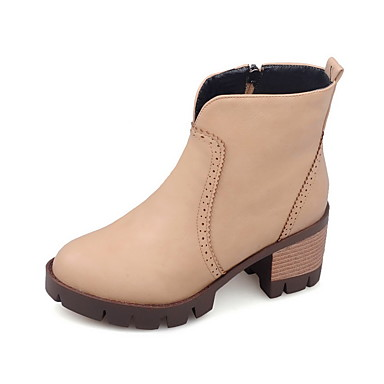 Støvler-Kunstlæder-Modestøvler-Dame-Sort Grå Mandel-Formelt-Tyk hæl