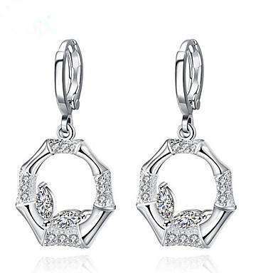 Druppel oorbellen Ring oorbellen PERSGepersonaliseerd Sterling zilver Verzilverd Legering Cirkelvorm Ronde vorm Wit Sieraden VoorFeest
