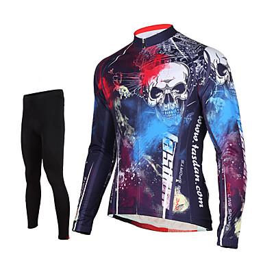 TASDAN Herre Langermet Sykkeljersey med tights - Svart Sykkel Tights Jersey Bukser Klessett, 3D Pute, Fort Tørring, Pustende,