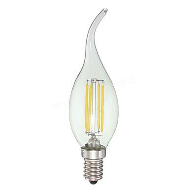 KWB 4W 380 lm E12 LED Kerzen-Glühbirnen C35 4 Leds COB Abblendbar Kühles Weiß Wechselstrom 110-130V