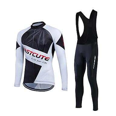 Fastcute Herrn Langarm Fahrradtrikot mit Trägerhosen - Schwarz Fahhrad Kleidungs-Sets, 3D Pad, Atmungsaktiv, Schweißableitend Coolmax® /