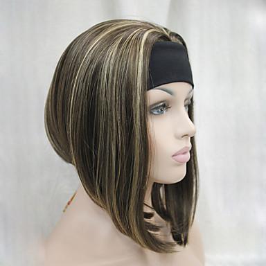 Synthetische Haare Perücken Kinky Glatt Gerade Karnevalsperücke Halloween Perücke Die Hälfte Perücke Braun