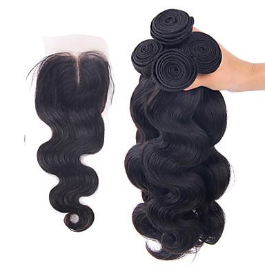 Cabello Brasileño Ondulado Grande Cabello humano Trama del pelo con cierre Cabello humano teje Extensiones de cabello humano