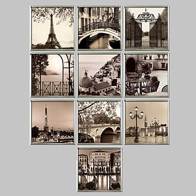 Gerahmtes Leinenbild Gerahmtes Set Architektur Wandkunst, PVC Stoff Mit Feld Haus Dekoration Rand Kunst Wohnzimmer B¨¹ro