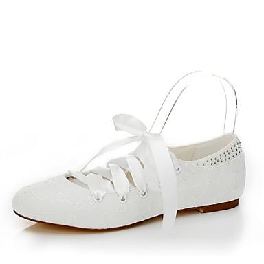 Damen Schuhe Seide Frühling / Sommer Flache Schuhe Flacher Absatz Schnürsenkel Elfenbein / Hochzeit / Party & Festivität