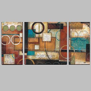 Handgeschilderde Abstract Olie schilderijen,Modern / Mediterraans Drie panelen Canvas Hang-geschilderd olieverfschilderij For