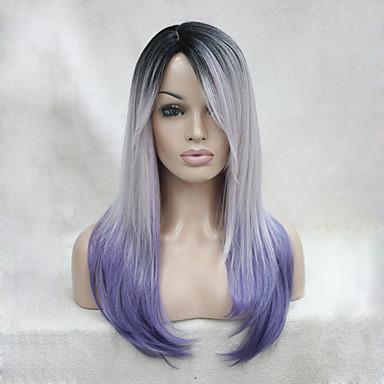 Synthetische Perücken Glatt / Kinky Glatt Synthetische Haare Gefärbte Haarspitzen (Ombré Hair) / Dunkler Haaransatz / Mittelscheitel Lila Perücke Damen Lang Kappenlos