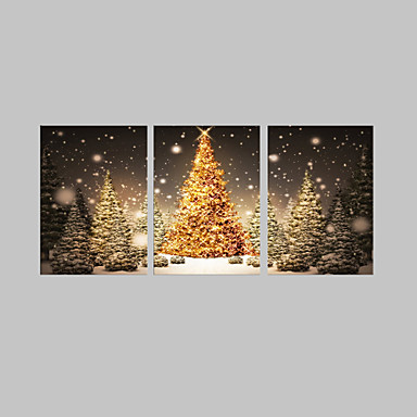 LED Canvas Art Holiday Three Panels Vertical Wall Decor Home Decoration