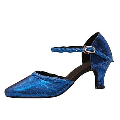 Damen Latin Modern Paillette Sandalen Absätze Innen Professionell Paillette Schnalle Maßgefertigter Absatz Blau 1