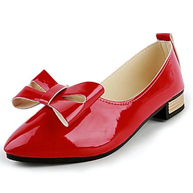 Mulheres Sapatos Couro Ecológico Outono Rasos Sem Salto Laço Preto / Bege / Vermelho