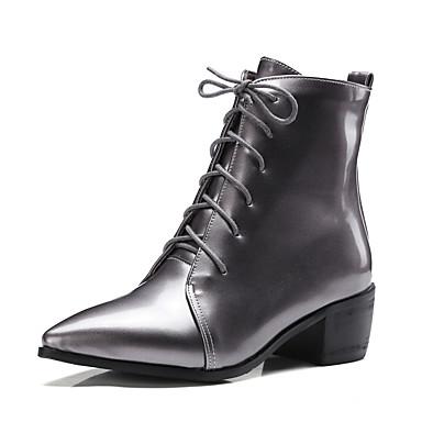 Damen Schuhe Kunstleder Winter Herbst Stiefeletten Modische Stiefel Stiefel Blockabsatz Block Ferse Spitze Zehe Schnürsenkel für Normal