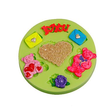 amour lettre ours en peluche amoureux silicone fondant moule gâteau décoration outils couleur aléatoire