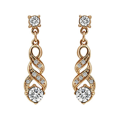 Damen Kubikzirkonia Tropfen-Ohrringe - Zirkon, vergoldet, Diamantimitate Böhmische, Elegant Gold Für Party / Alltag / Normal