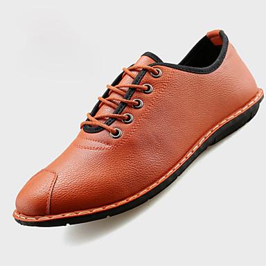 Sneakers-PU-Komfort-Herre-Sort Hvid Orange-Fritid-Flad hæl