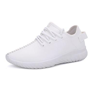 Dames Sneakers Lente Herfst Comfortabel PU Casual Platte hak Veters Zwart Rood Wit