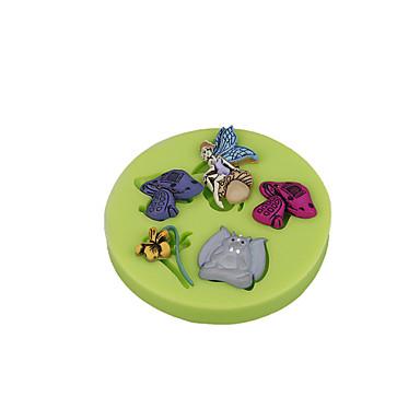 Flor, conto de fadas, cogumelo, silicone, sugarcraft, molde, fondant, bolo, decoração, ferramentas, chocolate, cupcake, cor, aleatório