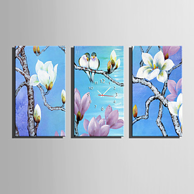 E-HOME® Flower And Bird Clock in Canvas 3pcs
