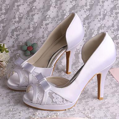 Satin Evénement Ivoire Talon Femme Eté amp; Sandales Noeud Mariage Elastique Aiguille Chaussures Blanc Soirée 05258210 Printemps HxSq54Awx