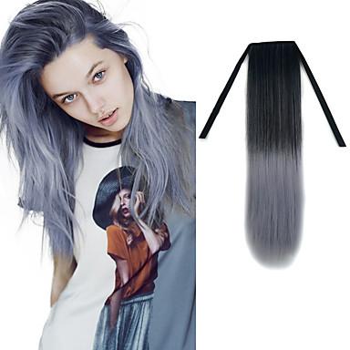 22 אינץ 'קלטת ישרה שחור סבתא אפורה הארכת שיער סינטתית