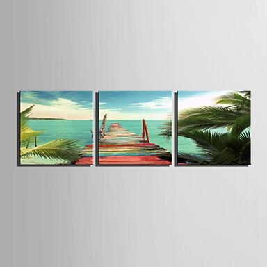 Landskap Tre Paneler Kvadrat Trykk
