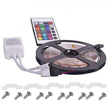 KWB 5 m Lyssæt 300 lysdioder 3528 SMD RGB Fjernbetjening / Chippable / Dæmpbar 12 V / IP65 / Vandtæt / Koblingsbar / Passer til Køretøjer / Selvklæbende