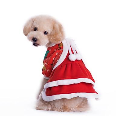 Kat Hund Kostume Kjoler Hundetøj Cosplay Jul Ensfarvet Rød Kostume For kæledyr