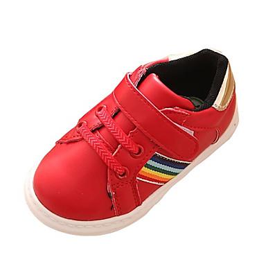 Sneakers-PU-Komfort-Unisex-Rød Hvid-Fritid-Flad hæl