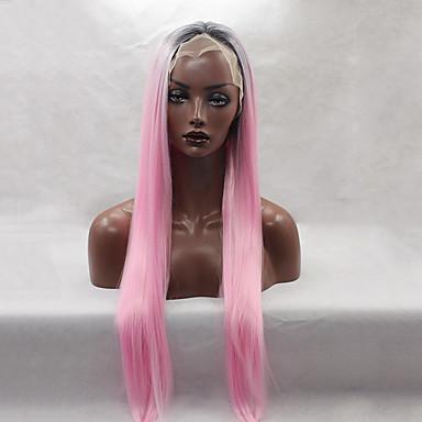 Synthetische pruiken Recht Roze Dames Kanten Voorkant Natuurlijke pruik Lang Synthetisch haar