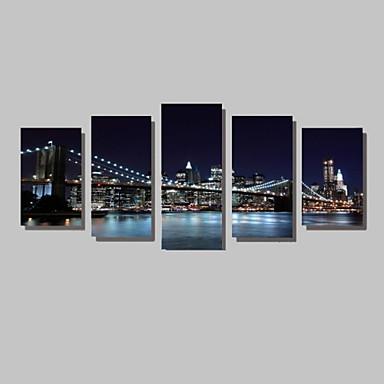 billige Trykk-Trykk Valset lerretskunst - Landskap Arkitektur Fotografisk Moderne Fem Paneler Kunsttrykk