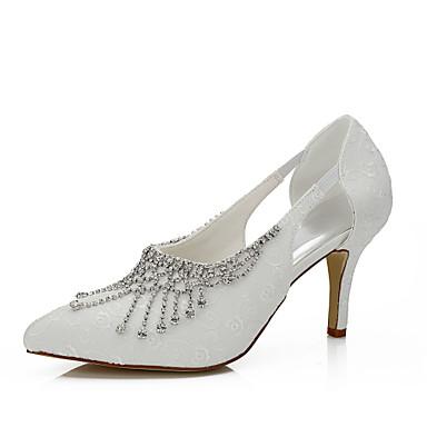 Damen Schuhe Seide Frühling Sommer High Heels Stöckelabsatz Kette für Hochzeit Kleid Party & Festivität Elfenbein