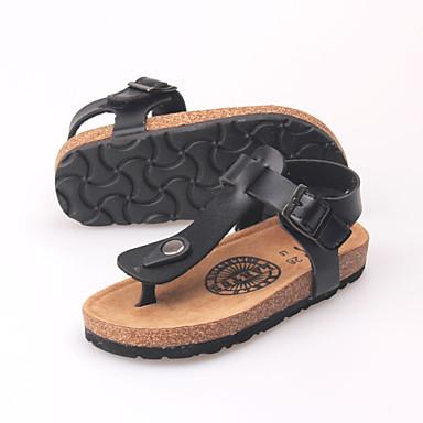 Masculino sapatos Couro Ecológico Verão Outono Sandálias para Casual Branco Preto Branco/Preto