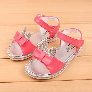 Para Meninas Sapatos Sintético Verão Sandálias Rasteiro Laço Para Casual Branco Rosa claro Coral