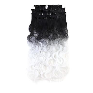 neitsi 60cm 165g krul golvende clip in op hair extensions ombre synthetisch haar inslag 8 stuks / set kleur te kiezen